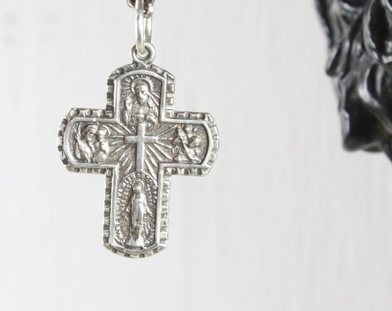 RES** Vintage - 5 Way Medal Sacramental & Scapular - Cruciform Pendant - Sterling Silver 3.3gm - 1950's-1970's - Crucifix