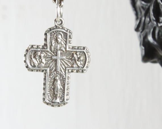 Vintage - 5 Way Medal Sacramental & Scapular - Cruciform Pendant - Sterling Silver 3.3gm - 1950's-1970's - Crucifix