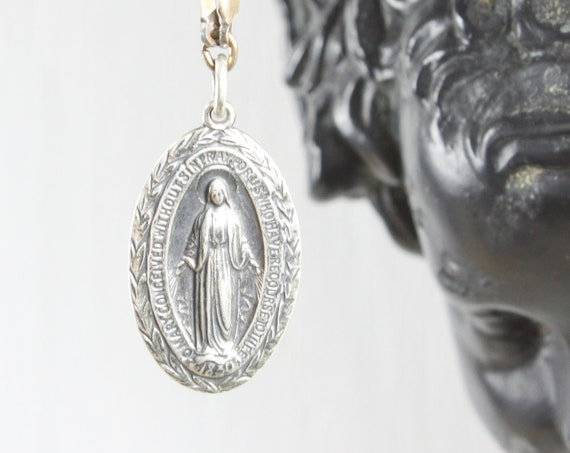 Vintage - Miraculous Medal Sacramental - Oval Pendant - Sterling Silver 3 gm - Era 1910- 1920s - Blessed Mother Mary - St. Catherine Labouré