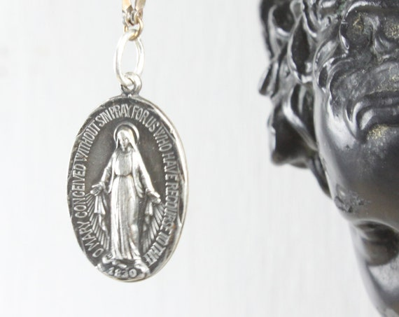 Vintage - Miraculous Medal Sacramental - Oval Pendant - Sterling Silver 5 gm - Era 1910- 1920s - Blessed Mother Mary - St. Catherine Labouré