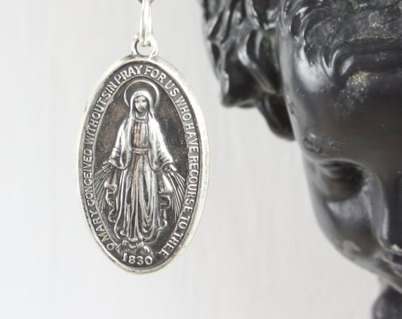 Vintage - Miraculous Medal Sacramental - Oval Pendant - Sterling Silver 8 gm - Mid Century - Blessed Mother Mary - St. Catherine Labouré