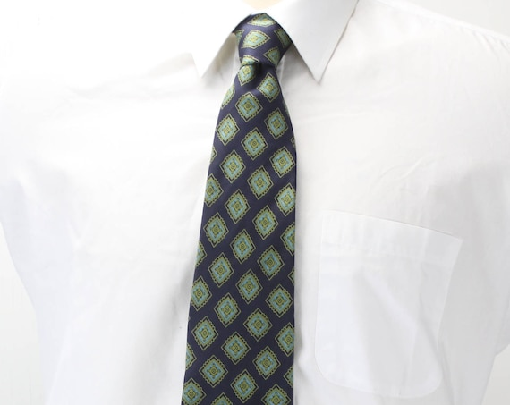 Vintage Men's Necktie -Brooks Brothers - All Silk -Blue - Yellow/Green Medallions - Double Core - 1960's - 1970's