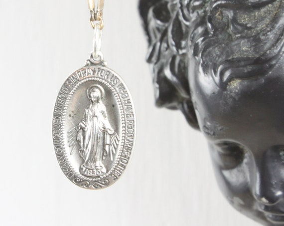 Vintage - Miraculous Medal Sacramental - Oval Pendant - Sterling Silver 5.8 gm - Mid Century - Blessed Mother Mary - St. Catherine Labouré