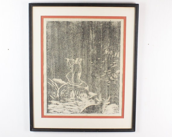 Vintage Woodblock Print - l'enfant Sans Souci - W. S. Yan - Series 162/200 - Framed and Matted - 1950's - Mid Century - Japanese