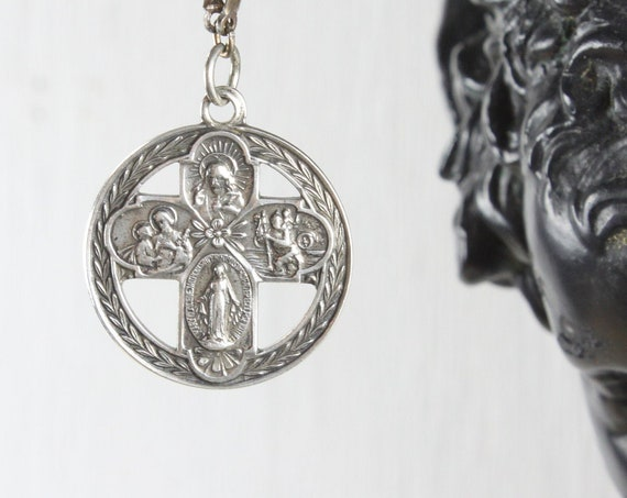Vintage - 5 Way Medal Sacramental & Scapular - Circular Pendant - Sterling Silver 6gm - 1930's-1940's - Crucifix - Art Deco - Wheat