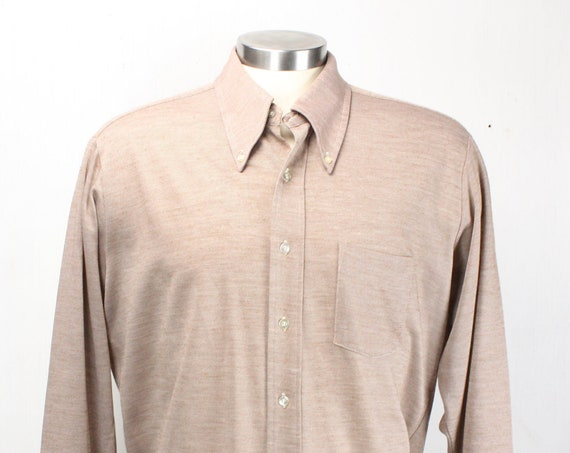 Vintage Men's Shirt - KentField - First Edition - 1970's - Beige / White Weave - XL - Extra Large - 17 Neck - 33 - Cotton/Polyester Blend