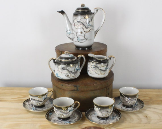 Tea Set - 11 pieces - Vintage - Unknown Mark - Blue / Black Smoke - Moriage - Dragonware - Hot Chocolate/Coffee - 1930's - 1940's
