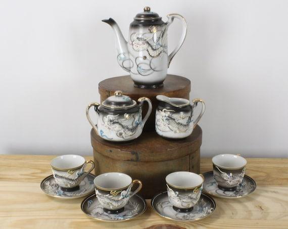 Tea Set - 11 pieces - Vintage - Unknown Mark - Blue / Black Smoke - Moriage - Dragonware - Hot Chocolate/Coffee - 1930's - 1940's