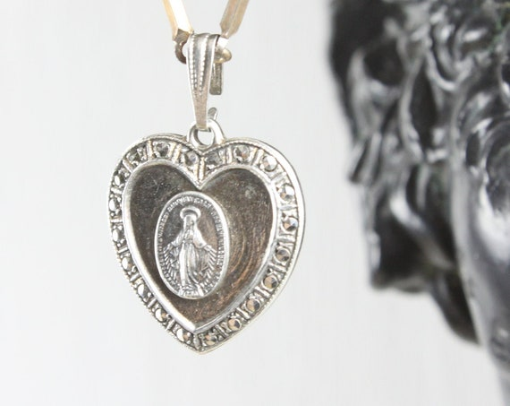 Vintage - Miraculous Medal Sacramental - Heart Pendant - Sterling Silver 4 gm - Mid Century - Blessed Mother Mary - St. Catherine Labouré