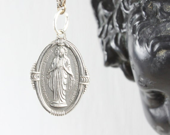 Vintage - Miraculous Medal Sacramental - Oval Pendant - Sterling Silver 4 gm - Era 1930s - Blessed Mother Mary - St. Catherine Labouré