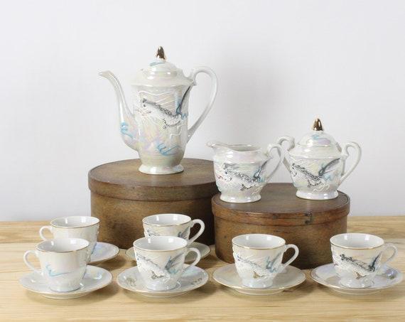 Vintage Dragonware Tea Set - 15 pieces - Unsigned - Ivory Lusterware - Grey Smoke Dragon- Moriage  - Hot Chocolate/Coffee - 1930's - 1940's