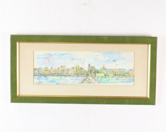Vintage Watercolor Painting - Curacao - Yodi 1968 - Wilhelmina - The Old Queen Emma Bridge - Green Velvet / Gilt Frame - 1960's - Caribbean