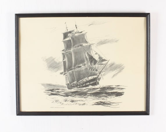 Vintage Print - Robert James Pailthorpe - Pencil Sketch of Fully Rigged Clipper Ship - 1960's - Framed Under Glass