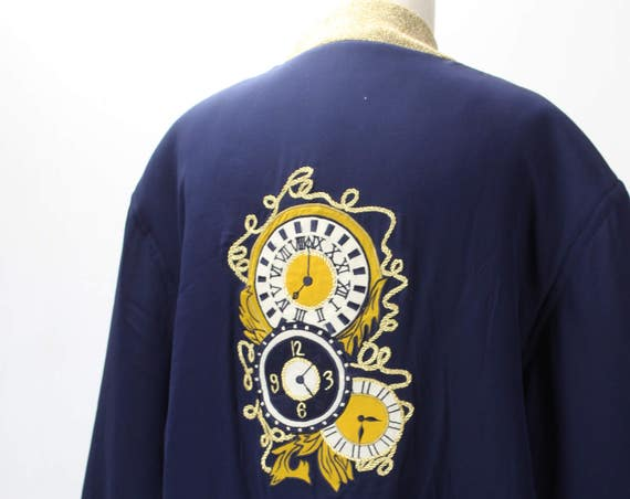 Vintage Women's Track Jacket - Silk - Blue - Gold knit - Clockwork Embroidery - August Silk - 1980's - 1990's  - Oversized - Modern Size XXL