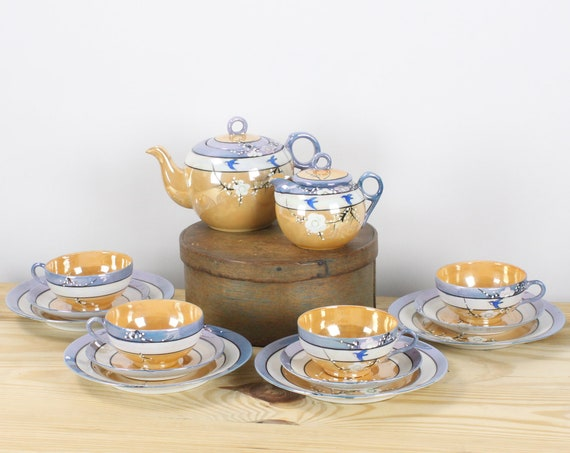 Vintage Art Deco Tea Set - 14 pieces - Unsigned - Blue / Orange / White Lusterware - Moriage Dogwood Blossoms w/ Swallow - 1930's - 1940's