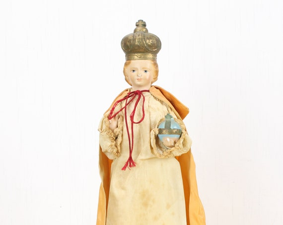 Vintage Chalkware Religious Statue - Infant Jesus of Prague - Cloth Gown - Mid Century - Religious Icon - Gilt Accents - 1950's - 1960's