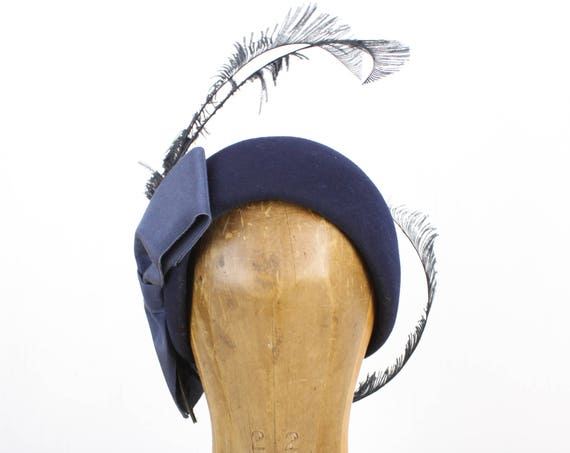 Vintage Women's Hat - Helmet Toque - Mr John - Navy Blue - Wool Felt - Oversized Bow / Ostrich Feather Accents - 1950's - 1960's - Art Deco