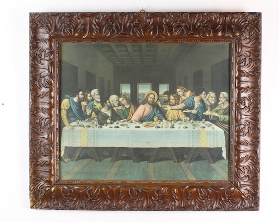 Vintage Catholic Lithograph - The Last Supper - 1915 - Pressed molded frame / Under Glass - Grape Leaves - 1910's - Jesus and Apostles