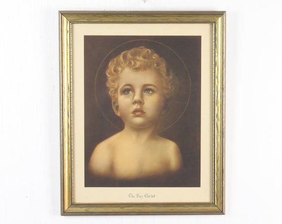 Vintage Catholic Lithograph - The Boy Christ - Lawrence N. Daleiden & Co - 1940's - Christian - Jesus - Framed - Under Glass
