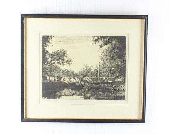 """Vintage Engraving - Pasquale """"Pat"""" Masiello - Signed - Memorial Bridge - WPA - 1940's - Matted & Framed Under Glass"""
