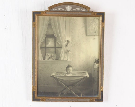 Vintage Frame w/ Baby Photo - Bachrach Photographs of Distinction - Federal Revival Gilt Frame w/ Neo-Grec Accents - Early 20th Century