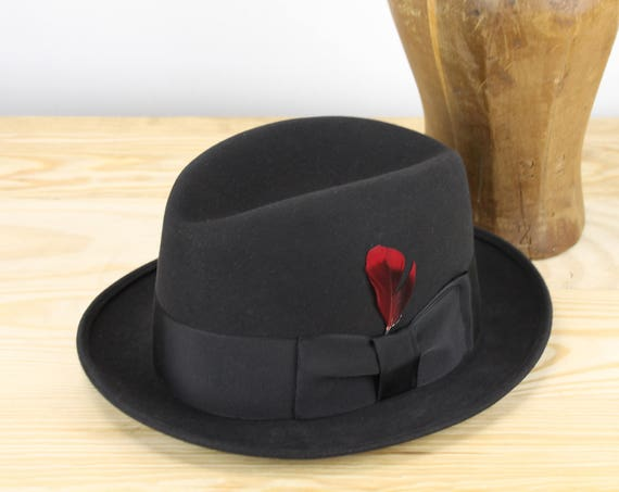 Vintage Fur Felt Fedora- Melton - Bob's Men's Shop - 7 1/8 - Medium - Charcoal Gray - Red Plume - Satin Lining - 1950's - Mid Century