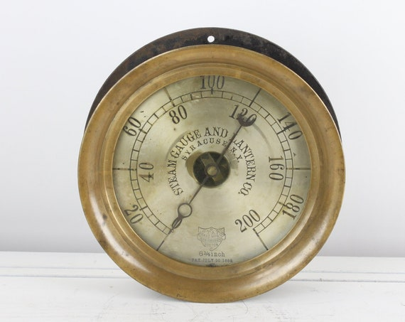 Antique Steam Pressure Gauge - Star Brass MFG. Co Boston, MA - 6 & 3/4 - 43/895 - PSI - Late 19th - Early 20th Century