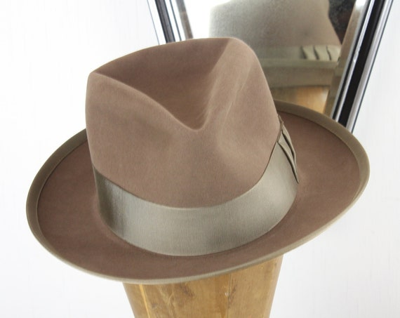 Vintage - Stephen L. Stetson - Fedora - Olympic Quality - Beaver Felt - Men's 6 7/8 - Small Medium - Tan - Hat - Mid Century