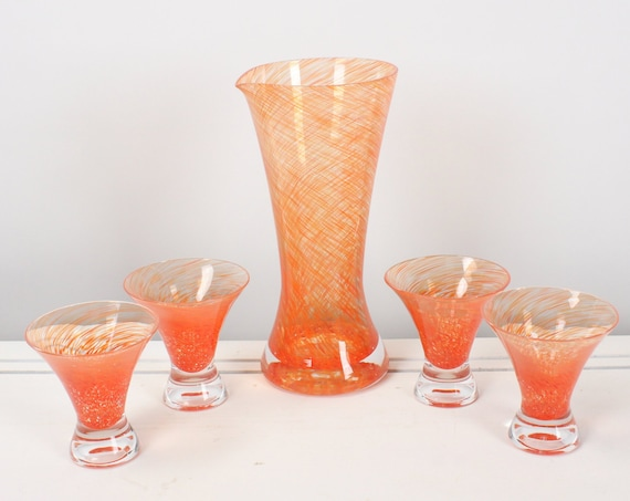 Vintage Juice Set - Pitcher / 4 Cups - Art Glass - Spaghetti - Orange Swirl / Clear - Mid Century Modern - Margarita - Handmade - 1960's