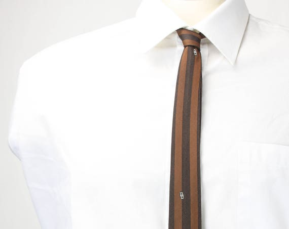 Vintage Men's Skinny Tie - Black / Brown Horizontal Stripe - Geometric Accents - 1950's - 1960's - Mid Century - Polkadot