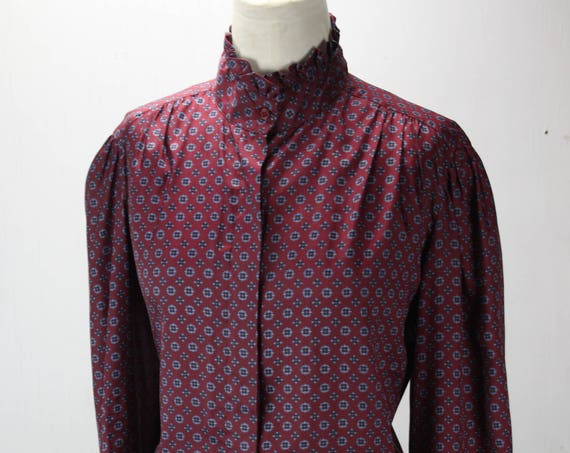 Vintage Women's Button Front Blouse - Burgundy - Blue Medallion Polka Dot - WeatherVane - 1970's - Polyester - SZ 14 - Large - Prairie