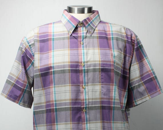 Vintage Men's Short Sleeve Shirt - Dover By Arrow  - Purple - Plaid - XL - 17 - 1960's - Spring & Summer Fashion