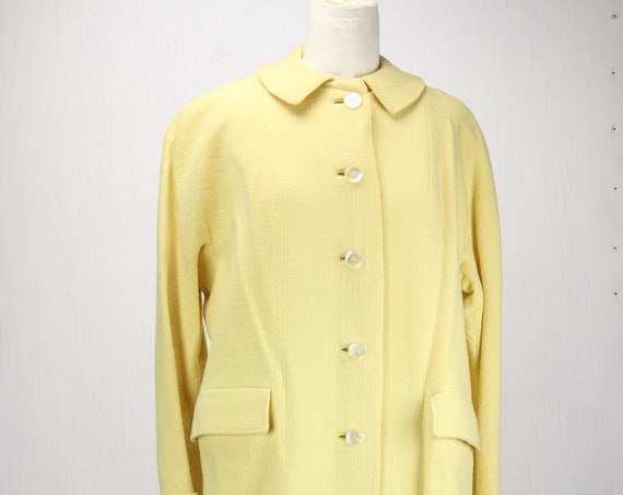Vintage Women's Chesterfield Overcoat - Collage-Town Classics - Wool Blend - Yellow - 1960's - Jackie O - SZ 12 - Spring Fashion - 3/4