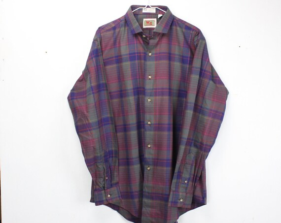Vintage Men's Shirt - W&D co. Boston - Purple - Yellow - Gray - Plaid - 100% Cotton - XL - 17 - 1980's