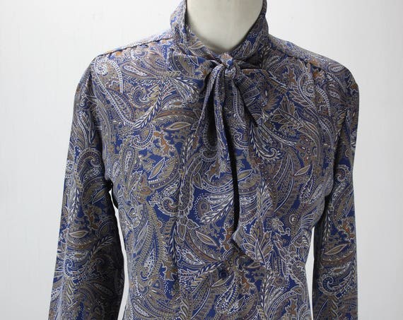 Vintage Women's Bow Tie Collar Blouse - Paisley - Blue & Brown - Country Sophisticates - 1960's - Pendleton - Medium - 8-10 - Spring