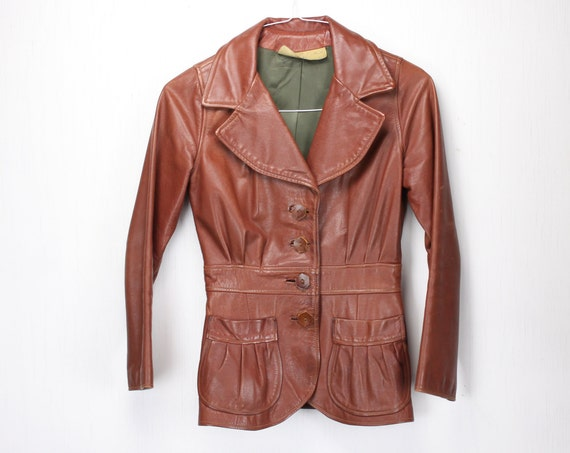 Vintage Women's Riding Jacket - Brown Leather - Handmade - Full Lining - Pleated - 1930's - 1940's - Spring / Fall Fashion - Automobilist