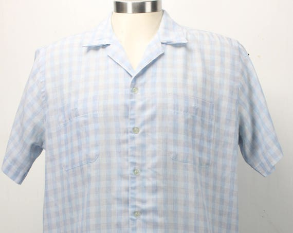 Vintage Men's Short Sleeve Shirt - Sear's - Marc Christopher - Plaid Blue / Pink - Cotton blend - L - 1960's - Spring & Summer Fashion