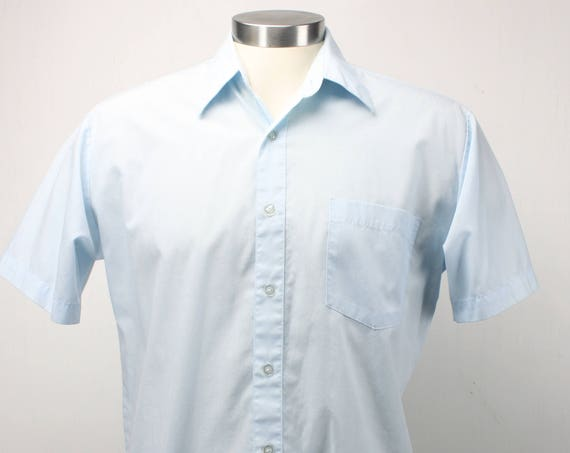 Vintage Men's Short Sleeve Shirt - Haband - Blue - Medium - 15 - 1960's - Spring & Summer Fashion