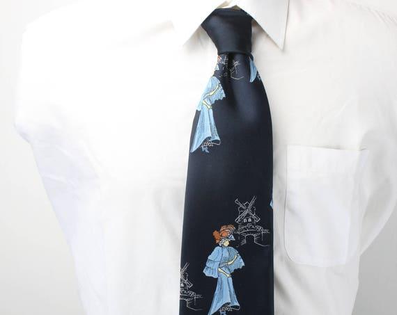 Vintage Men's Necktie - Oleg Cassini By Burma - Dark Blue - Embroidered Women & Windmills - 1960's - Single Core