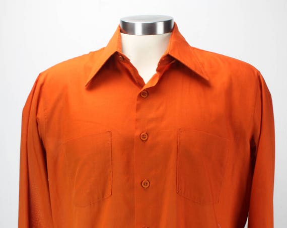 Vintage Men's Shirt - Casual Wear - by Arrow - Late 1950's - Orange - XL - Extra Large - 17 - Spring & Summer Fashion