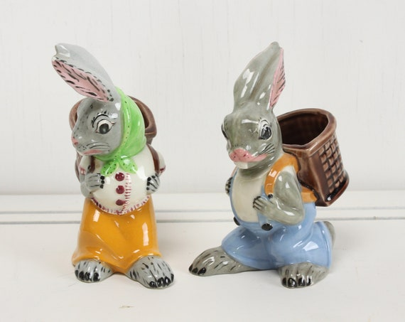 Vintage Figural Toothpick Holder Set - Boy & Girl Bunny - Holland Mold Ceramic - Hand Painted - Mid Century - 1950's
