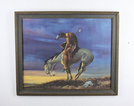 Vintage Print - Meketi - End of the Trail - Blue & Gilt Frame - Offset Lithograph - Native American on Horse - 1920's - 1930's