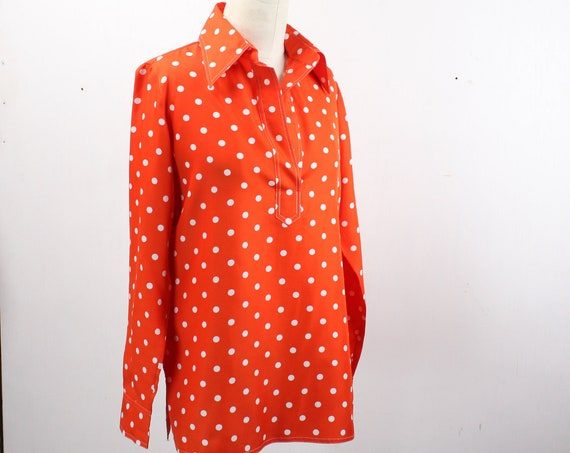 Vintage Women's Smock Blouse - Lord & Taylor - Red w/ White Polka Dot - Vintage Size 10 - Modern L 12 - 1960's
