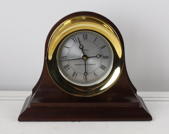 "Vintage - Chelsea Presidential Clock - Thomas Long Company - 4 & 1/2"" Shipstrike Clock - Quartz Movement - Polished Brass - Mahogany Base"