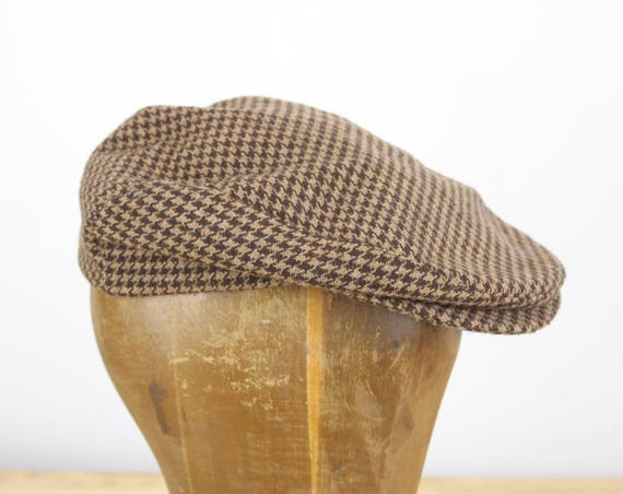 Vintage - Windsor Cap - Brown / Black Houndstooth - Wool Blend - Black Lining - Paddy - Driving - Golf - Flat Hat - Men's Fashion - 1980's