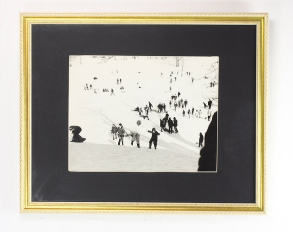 Vintage Framed Photograph - Landscape - 1960's - Sledding - Family - Winter - New England - Home Decor