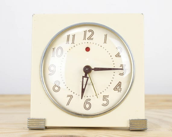 Westclox Corp - Art Deco - Alarm Clock - Ivory White Case w/ Brass Accents - Model S5-F - Logan - 1920's - Home Decor - Vintage Clock