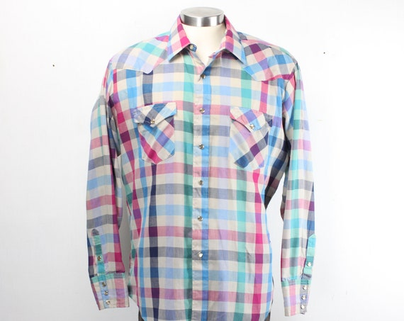 Vintage Men's Shirt - H Bar C - Ranchwear - Western Wear - Gingham Check - Green Blue Purple Beige - 1970's - 17.5- 36 - XL -