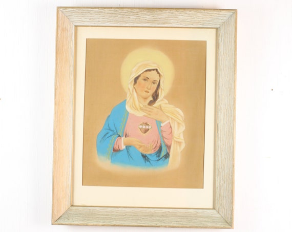 Vintage Painting - Immaculate Heart of Mary - Roman Catholic - Ink & Pigment on Silk - Early 20th Century - Unsigned - 1900's/1930's
