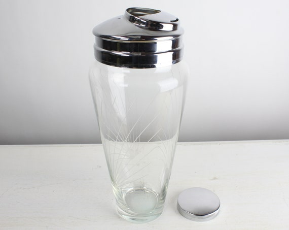 Vintage Cocktail Shaker - Frostoria - Pine - Cutting 835 - Elegant Cut Glass - Crystal - Nickel Plated Lid - Mid Century - 1950's